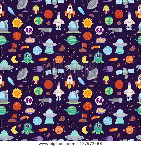 Astronomy icons solar system stickers set. Cute cartoon planets and sun stickers for kids. Astronomy education set of stickers. Vector Illustration astrology space patches seamless pattern