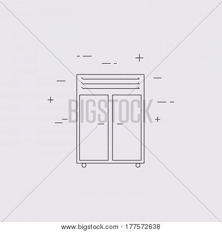 Refrigerator Isolated Line Icon.