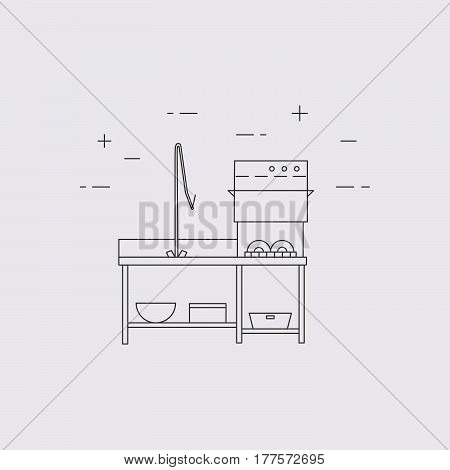 Commercial Dishwasher Vector Line Icon