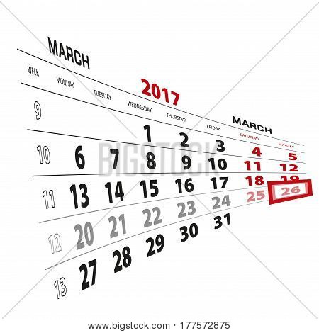 26 March Highlighted On Calendar 2017. Week Starts From Monday.