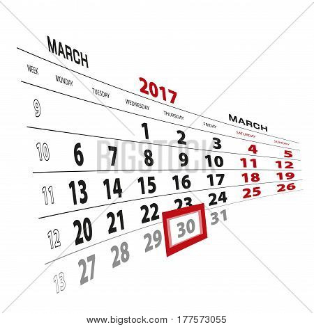 30 March Highlighted On Calendar 2017. Week Starts From Monday.