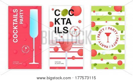 cocktail party flyer, invitation templates set. collection