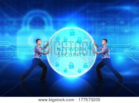 Technology, Internet, Business And Network Concept. Young Business Man Provides Cyber Security: Netw