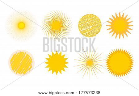 Sun burst or star logo icon set. Sunshine star and sunlight. Nature sun in summer. Star vector icons . Star sun silhouette isolated on white background