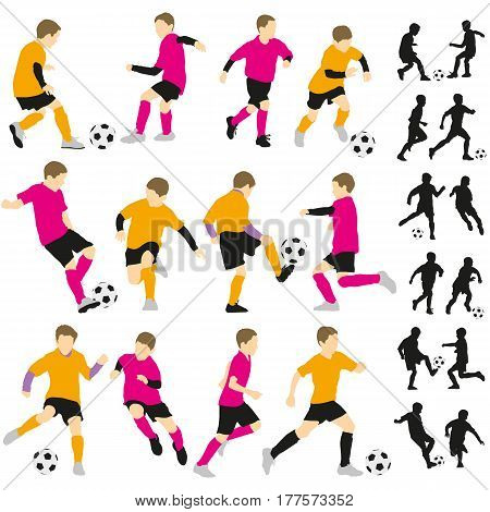 Soccer football children boys playing with ball silhouettes illustration