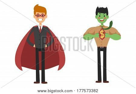 Superhero business man vector set. Super people in business illustration. Super hero in office life. Superhero flying, business success people