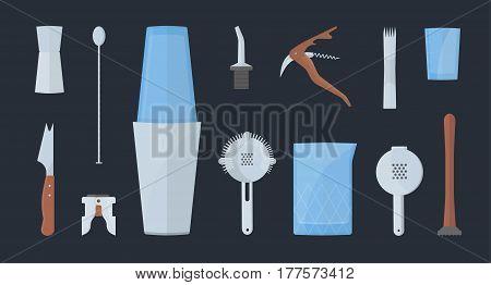 barman equipment set. colorful flat illustration. collection