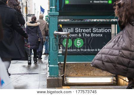 Wall street subway station in New York City, NY, USA.