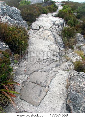 PATH WAY FOUND ON TOP OF TABLE MOUNTAIN, CAPE TOWN SOUTH AFRICA