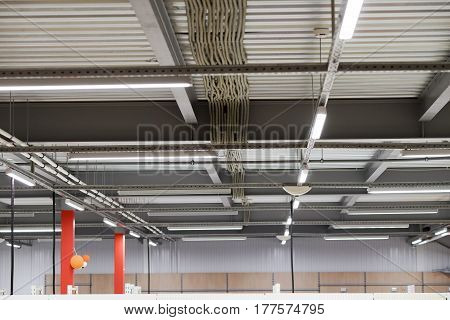Wiring From The Ceiling, Ceiling Frame Made Of Metal Profile