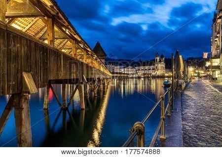 Chapel Bridge across the River Reuss in Lucerne Switzerland