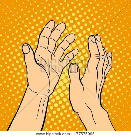 Hand showing applause deaf-mute gesture human arm hold communication and direction design fist touch pop art style colorful vector illusstration. Forefinger unity point showing.