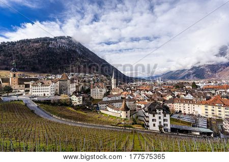 Looking across the vineyards of Chur to the town in south east Switzerland