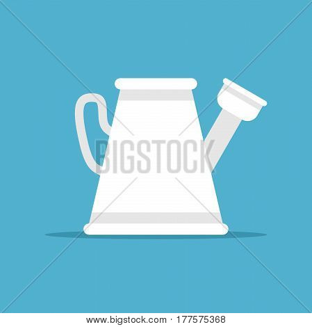White plastic or metal watering can on blue background with drop shadow. Gardening agriculture and spring concept. Flat design. Vector illustration. EPS 8 no transparency