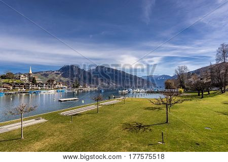 Speiz on Lake Thun in Switzerland in the canton of Bernese Oberland