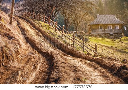 marsh dirt road in the mountain village