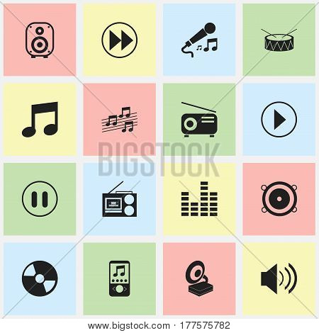 Set Of 16 Editable Sound Icons. Includes Symbols Such As Bar Wave, Media Fm, Phonograph And More. Can Be Used For Web, Mobile, UI And Infographic Design.