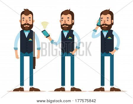 Stylish young man with phone. Character in three positions. Man is standing with bag on his shoulder, calling, talking on phone