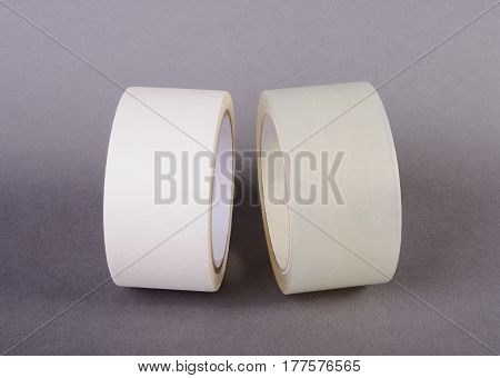 The rolls of tape on gray background