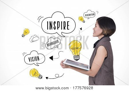 businesswomen hand holding book with lightbulb. concept for new ideas with innovation and creativity.