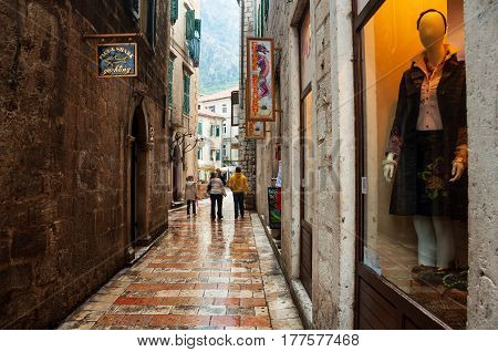 KOTOR, MONTENEGRO - NOVEMBER 3, 2013: Empty streets of famous old town Kotor, Montenegro. It's a coastal town located in the Gulf of Kotor, old fort is part of the UNESCO World Heritage Site