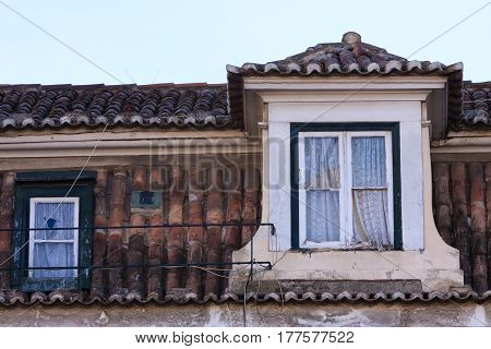 View of Alfama roof and windows in Lisbon, Portugal