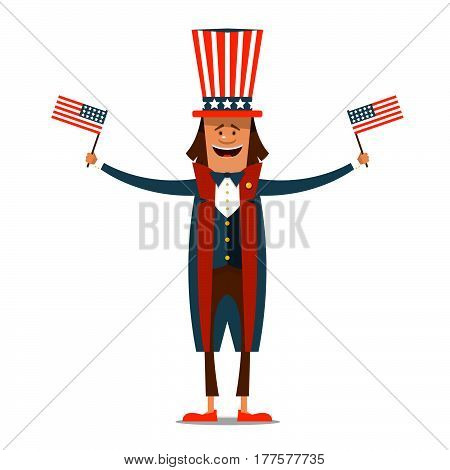 American Independence Day. The 4th of July. Man in traditional costume on white isolated background with American flags in their hands. Vector illustration.