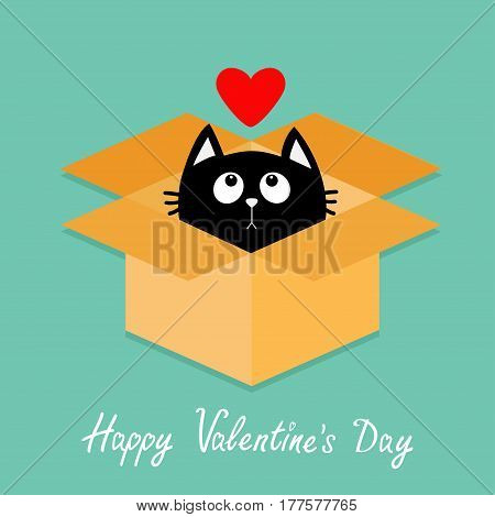 Cat inside opened cardboard package box. Kitten looking up to red heart. Happy Valentines day Flat design style. Kawaii animal. Love Greeting card. Green background. Vector illustration