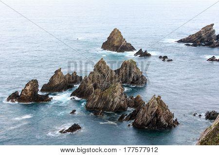 Rock Formations Near Shore.