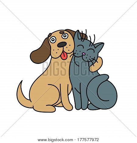 Cute dog hugs cat. Funny cartoon picture of a fluffy little animals. Good emotions. Friendship, happiness, kindness, fun, game, holiday. We are twain. Together forever. Best friends are sitting. Vector illustration.