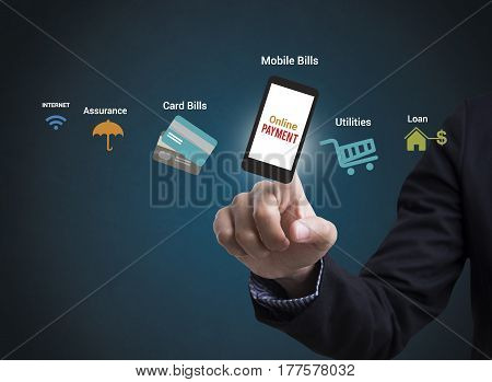 Online Payment on mobile phone. concept selecting buying paying purchase merchandise .