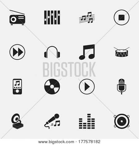 Set Of 16 Editable Music Icons. Includes Symbols Such As Bar Wave, Rewind, Music Phone And More. Can Be Used For Web, Mobile, UI And Infographic Design.