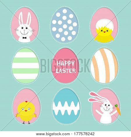 Painted colorful pattern egg frame set Bunny rabbit hare holding carrot. Chicken bird with shell. Happy Easter text. Dash line contour. Greeting card. Blue background. Flat design. Vector illustration