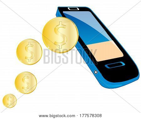 Translation of the money on mobile telephone on white background