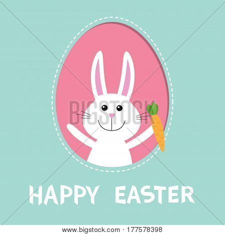 Happy Easter. Bunny rabbit hare holding carrot inside painted egg frame window. Dash line contour. Cute cartoon character. Baby greeting card. Blue background. Flat design. Vector illustration