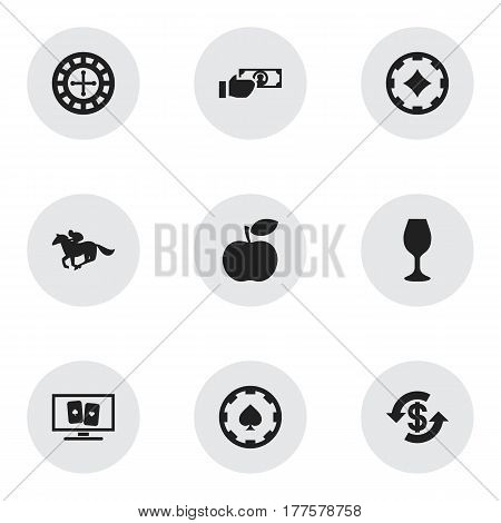 Set Of 9 Editable Gambling Icons. Includes Symbols Such As Dollar, Ace Of Diamonds, Apple And More. Can Be Used For Web, Mobile, UI And Infographic Design.