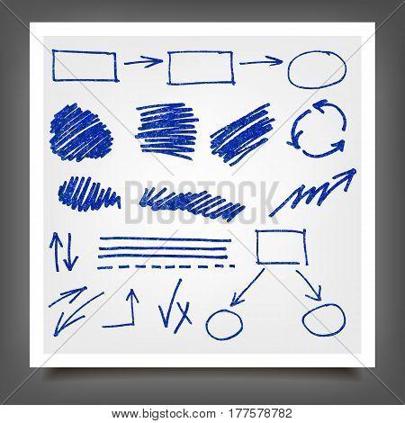 Hand Drawn Blue Gold Design Elements.