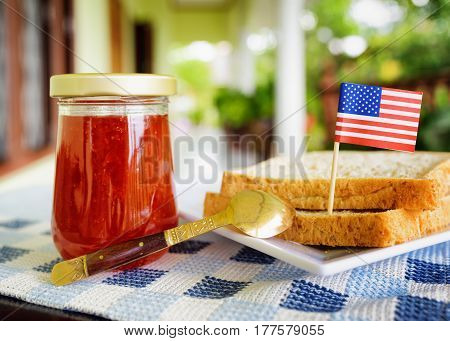 Jar Of Strawberry Jam And Toasts