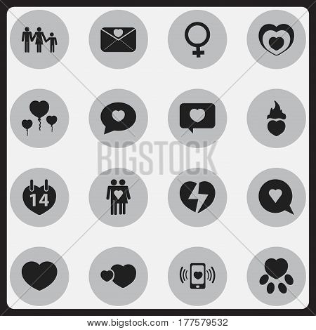 Set Of 16 Editable Amour Icons. Includes Symbols Such As Divorce, Heartbeat, Fire Loving And More. Can Be Used For Web, Mobile, UI And Infographic Design.