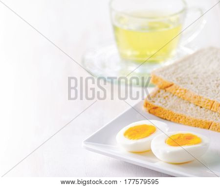 Boiled Eggs, Toasts And Cup Of Tea.