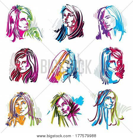 Set of vector art portraits of females drawn in minimalism style. Colorful illustration of women expressing different emotions.