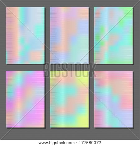 Set of holographic backgrounds. Iridescence different textures. Colorful abstract petrol stains. Vector illustration.