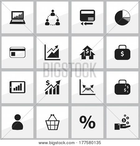 Set Of 16 Editable Analytics Icons. Includes Symbols Such As User, Money Bag, Circle Diagram And More. Can Be Used For Web, Mobile, UI And Infographic Design.