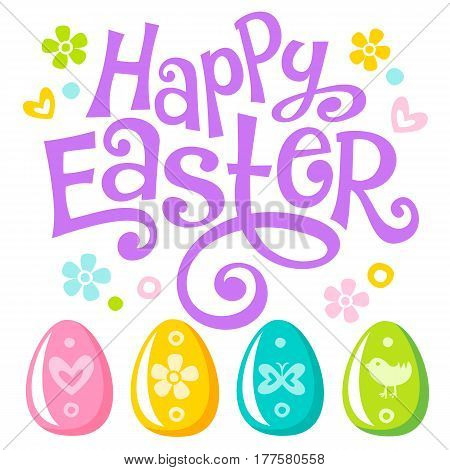 Happy Easter Joy Lettering celebration text for design. Colorful Easter eggs with ornaments. Can be used in greeting card, banner and invitation to egg hunting. Vector set of symbols isolated on white