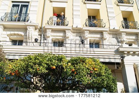 Nice, France - 25 February, Facade with French balconies, 25 February, 2017. Urban architecture of the old French style.