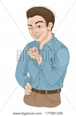 Hand drawn illustration of a man with squinty eye pointing finger and smiling. What about you