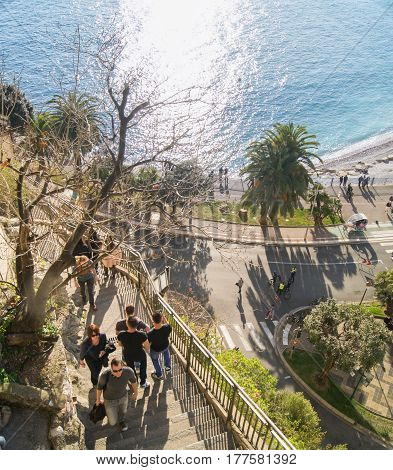 Nice, France - 25 February, A multi-level urban landscape, 25 February, 2017. People vacationing in Nice on the Cote d'Azur.