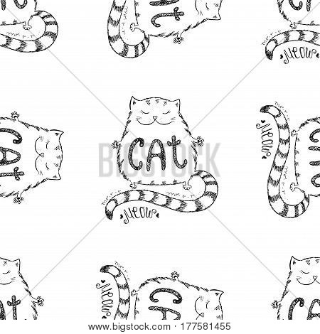 Cute Cat Seamless Pattern, Funny Hand Drawn