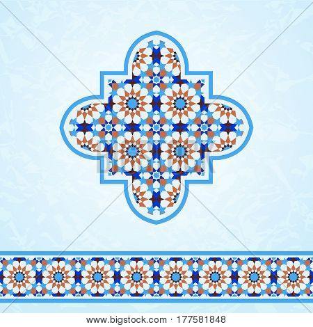 Traditional moroccan mosaic design elements quatrefoil and ornamental border
