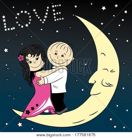 Love couple dancing on the moon, stock vector illustration